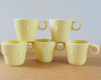 Vintage Melmac Coffee Cups • Prolon Ware Yellow • Set of 5