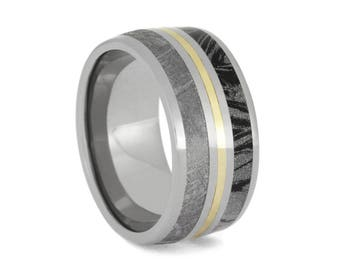 Gibeo Meteorite And Mokume Gane Wedding Ban, Titanium Ring With Yellow Gold, Made to Order Ring