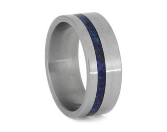 Crushed Synthetic Opal Wedding Band, Matte Titanium Ring For Men With Opal, Blue Wedding Band, Handmade Ring