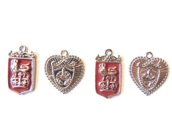 4 or 2 Pairs of Heraldry Themed  Shield Silver-tone and Red Epoxy Charms