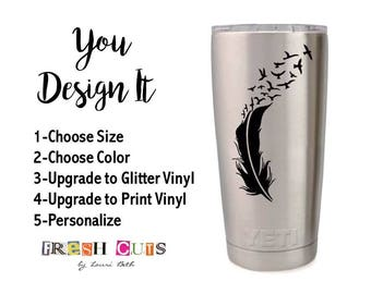 Vinyl Decal For Yeti Cup Feather Flying Birds Set It Free Nature Car Window Glitter Sticker Tumbler RTIC Ozark DIY Gift For Momen Christmas