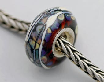 Unique Organic Raku Bead - Artisan Glass Bracelet Bead - (JUN-100)