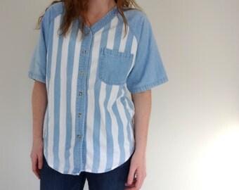 Vintage BASEBALL Top • 1990s Clothing • Wide Striped Denim Button Up Light Blue White Raglan Short Sleeve Unisex Men Women Medium Shirt HGNY
