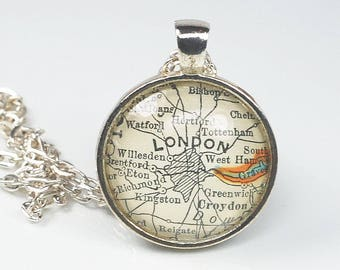 London Map Necklace- London Necklace, London Pendant, Vintage Map Pendant Jewelry, England Map Necklace, London Map Pendant, UK Map Pendant