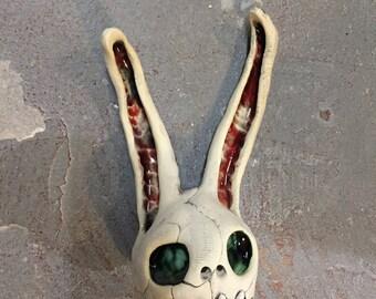 Ceramic Rabbit Head, wall hanging, Donnie Darko