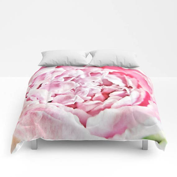 Pink Peony Comforter, Pink Bedding, Flower bedding, Unique design, Flower Comforter, Full, Queen, King, Dorm, Floral, Wedding, Feminine