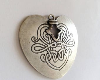 1pc- Matte Silver Plated Heart Charm-75x70mm (400-043SP)
