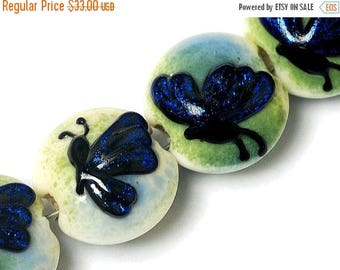 ON SALE 35% OFF Four Blue Sparkle Garden Butterfly Lentil Beads - Handmade Glass Lampwork Bead Set 10412912
