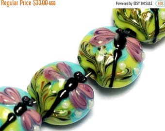 ON SALE 35% OFF Four Purple Dragonfly Lentil Beads 10504412 - Glass Lampwork Bead Set