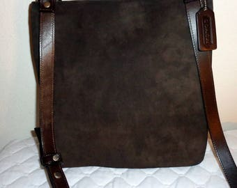 Coach buttery nubuck +saddle leather full flap UNISEX  slim messenger bag, cross body bag , deep chocolate brown mod 9460 rare  mint