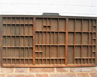 Antique Vintage Hamilton Printers Wooden Tray Antique Vintage Hamilton Printers Drawer Shadow Box Letterpress Tray 87 Sections