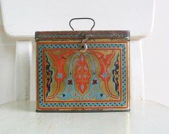 Vintage Metal Tin, Nabisco Uneeda Biscuit Tin, Art Nouveau Tin, Vintage Candy Tin, Blue Orange Metal Storage, Orange Tin, Vintage Metal Box