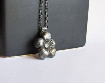 Cherry Blossom Necklace - Flower Necklace with Cubic Zirconia - Spring Flower Necklace - Sakura Necklace - Flower Jewelry