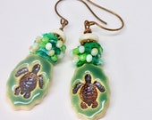 Boho Turtle Earrings, Turtle Jewelry, Cute Green Earrings, Art Jewelry, Fiber Art, One of a Kind Statement Earrings, Unique Birthday Gift
