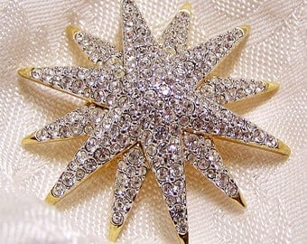 Vintage Swarovski Pave Set Crystal Star Brooch Signed with the Signature Swan. About 2 Inches Across. Sparkly and Near New Condition. (D16)