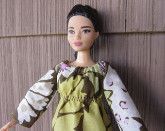 Handmade Curvy Barbie Doll Clothes, Large Floral Print Hippy Style Full Length Dress with Long Sleeves