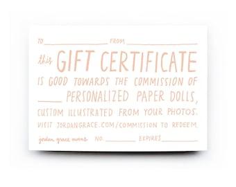 Paper Doll Portrait — Gift Certificate