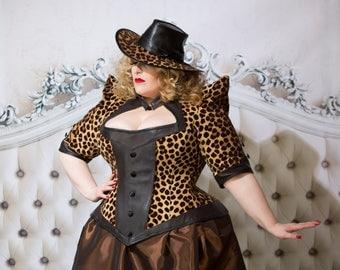 "Structured Jacket Leopard Print - Drag Queen Cruella De Vil Couture Handmade High Fashion- ""Queen Jacket"" - Custom to Order Petite to Plus"