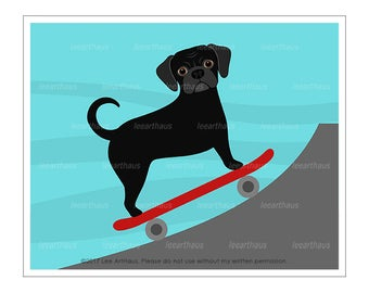 319D Dog Prints - Black Puggle Skateboarding Wall Art - Puggle Print - Skateboard Print - Puggle Drawing - Puggle Art - Skateboarding Dog