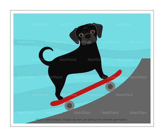 319D Dog Prints - Black Puggle Skateboarding Wall Art - Puggle Print - Skateboard Print - Puggle Drawing - Puggle Art - Skateboarding Dog