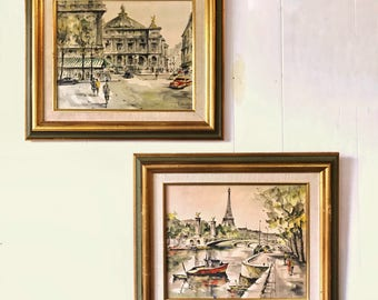 vintage framed Paris lithographs - G Lelong - 1950s Impressionist wall art - boho Paris apartment style