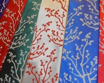 Mens necktie - Winter berries design tie, hand screen print design by RokGear