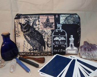 Owls Potions - Large Padded Cotton Cosmetic Bag Zipper Pouch Inside Pocket