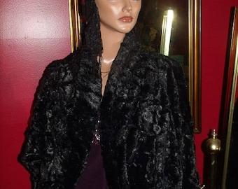 Vintage Jacket style Cape Opera  Bolero  Flapper  Jacket  Black  Faux Fur  XL