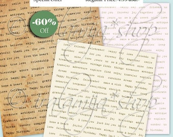 SALE EXPRESSIONS No.3 Collage Digital Images -printable download file Digital Collage Sheet Vintage Paper Scrapbook