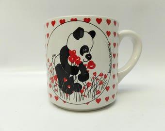 Hearts and panda mug