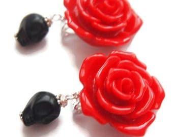 Day of the Dead Rockabilly Rose Clip on Earrings--Skull Earrings-Red Rose-Fashion Jewelry-Gothic Earrings-80s Trend-Unpierced Ears-Kid Gift