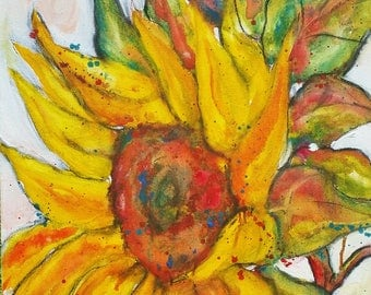 "Sunny Sunflower, 20"" h x 16"" w Original Painting, large flower"