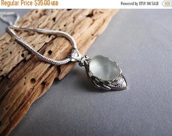 SEA GLASS SALE Sea Glass Necklace - Seafoam Sea Glass - Beach Glass Necklace - Sterling Silver Bezel - Blue Authentic Sea Glass - Ocean Gift
