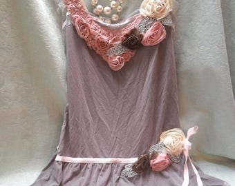 36% OFF Closet Cleaning TUNIC Top Whimsical Boho Romantic Laces - Reworked slip - Mocha, Pale Pink and Ivory