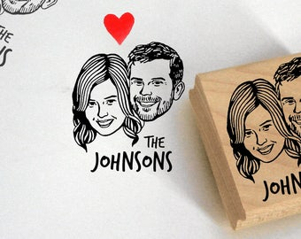 Custom portrait Personalized gift for couples wedding favor for guest invitations stamp / bachelorette party mrs art stampin return address