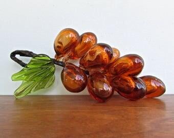 Murano Modern Italian Handmade Blown-Glass Amber Grape Cluster, Mid Century Italy
