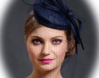 Dark navy pillbox hat for your special occasions- New elegant design which fits to any headsize