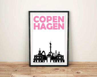 Copenhagen Print // Scandinavian Print // Denmark // Copenhagen Poster // Copenhagen Art // Danish Art // Danish Gift // Danish Print Gift