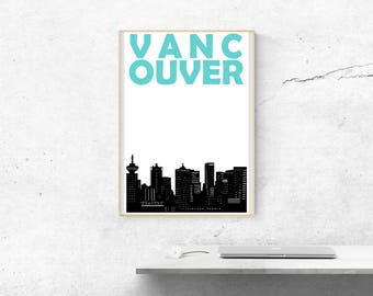 Vancouver Skyline // Vancouver Print // Vancouver Art // Vancouver Poster // Vancouver BC // Canada Print // Canadian Art // Canadian Gift