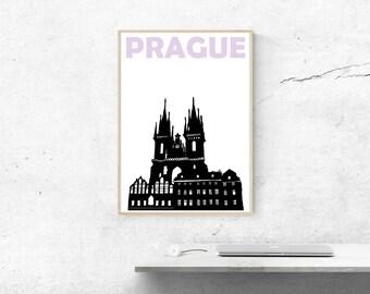 Prague Print // Czech Republic Print // Prague Poster // Prague Art // Czech Art // Czech Poster // Prague Gift // Czech Gift // Mens Gift