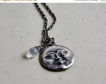 Man in the Moon Necklace, Sterling Silver Luna Charm, Pendant Celestial