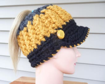 Gold and Black Messy Bun Ponytail Hat with Bill