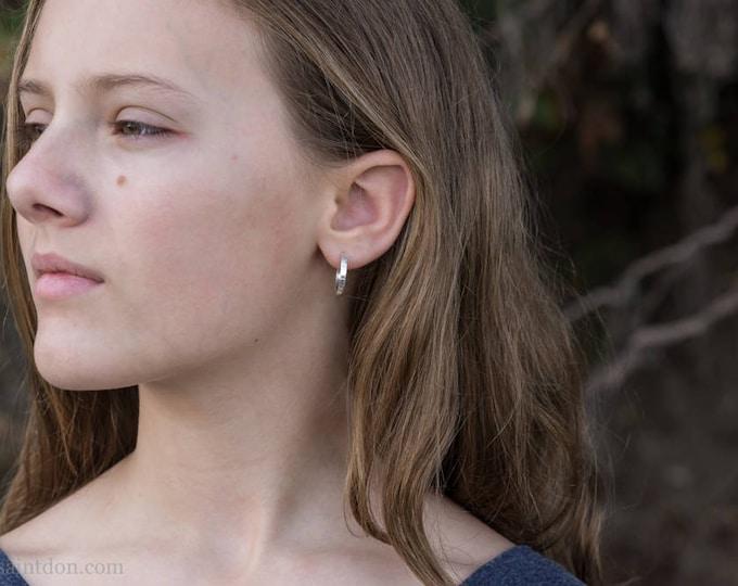 18mm x 2mm Sterling Silver Hoop Earrings, Shiny