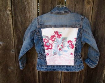 Toddler Girls Levi's Denim Jean Jacket Upcycled Back to School Wear Play Clothes Retro Vintage Floral Tablecloth Shabby Cottage Chic Pink