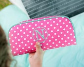 Dottie Pencil case- Polka Dot Mini accessory bag-includes Monogram-Pencil Bag-Pencil Pouch