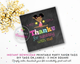 Girls Gymnastics Tumble Birthday Party Favor Tags (Black Hair) - Chalkboard Style - Printable 3 inch Square - Instant Download PDF File