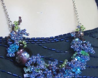 Turquoise and Purple Hydrangea Necklace