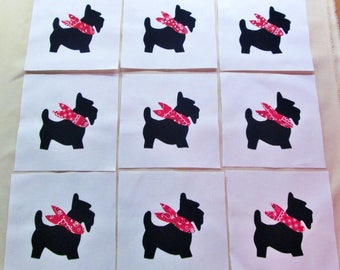 "Set of 9  Cute Black Scottie Dog   6"" x 6""  Cotton Quilt Blocks"