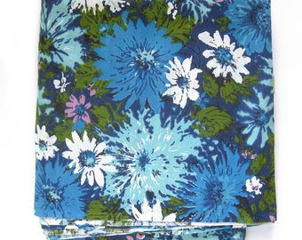 1960s Vintage Fabric / FLORAL Cotton in Blue Green and Pink  / Large Mod Floral Print / By the Yard