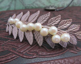 Fern Bridal barrette rose gold Feather Barrette Hair barrettes hair clips pearls barrette Top Seller